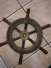 Antique Real Wooden Ship Wheel with brass center
