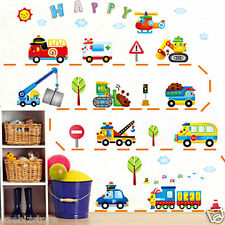 Happy Train Car Truck Helicopter Bus Bulldozer Removable Wall Sticker Boy Kids