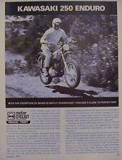 KAWASAKI 250 ENDURO Original Motorcycle Road Test 1971
