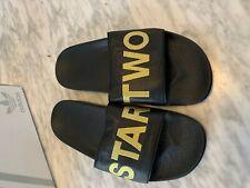 Adidas Mens Custom STAR TV Black Leather Solid Slip On Slides Sandals US Sz8