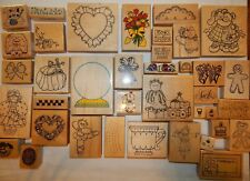 Rubber Stamp Lot 38 Wood Mounted Impressive Stamps DOTS PSX Azadi Earles + Mix5