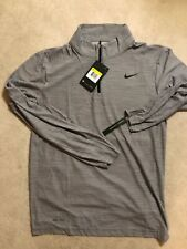 Brand New Men Nike Breathe Long Sleeve Dri Fit 1/4 Zip Pullover Gray Size Small