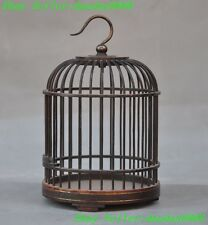 "6"" Collect china Chinese old wood inlay bronze statue mini birdcage Cricket cage"