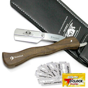 Wooden Barber Straight Cut Throat Shaving Razor Salon Smooth Cutting + 10 Blades