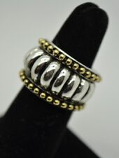 High quality Two tone round  fashion Rhodium Plated ring Size 7 US-SELLER  #ST55