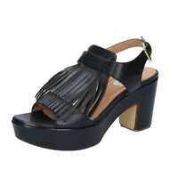 scarpe donna SHOCKS 39 EU sandali nero pelle BY400-E