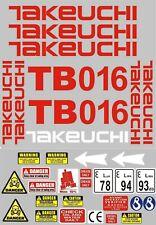 Decal Sticker Set For Takeuchi Tb016 Mini Digger Pelle Bagger