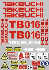 Decal Sticker set for: Takeuchi TB016  Mini Digger Pelle Bagger