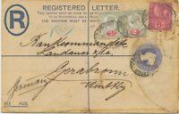 GB 1901 QV 2D postal stationery registered envelope uprated Jubilee 2D (2) + 6D