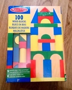 NEW & SEALED MELISSA & DOUG 100 ASSORTED WOODEN BLOCKS GEOMETRIC SHAPES 4 COLORS