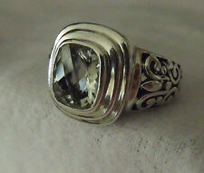 FANTASTIC ORNATE MENS STERLING SILVER 925 CLEAR STONE UNISEX RING SIZE 10