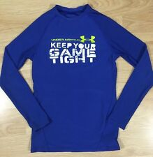 Under Armour Fitted Shirt Youth Medium Long Sleeve Blue White Lime