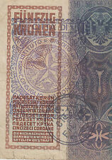 Very rarre banknote stamp - CITTA DI FIUME Consiglio Nazionale - 50 KRONEN 1914