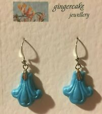 FLEUR-DE-LYS MEDIEVAL STYLE PEARLY TURQUOISE  HAND CRAFTED  drop EARRINGS  Hook