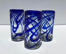 SET OF 3 MEXICAN TEQUILA SHOT GLASSES HANDBLOWN WITH BLUE SWIRL SET OF 3