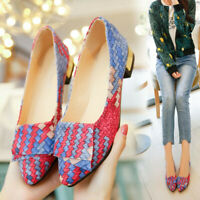 Women Mixed Colors Casual Shoes Round Toe Square Heel Slip-On Pretty Flat Shoes