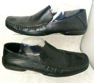 HUGO BOSS Men's Loafer Shoes Leather Black Slip On Moccasin UK9.5 Casual - F256
