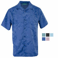 Cubavera Short Sleeve Tropical Floral Jacquard Woven Sport Shirt