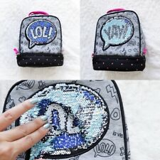 Reversible sequins lunch bag kids children bag school insulated Lol Yay fun word