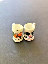 """Set of two miniature Florida collector souvenir mugs only measure 1 1/8"""" tall"""
