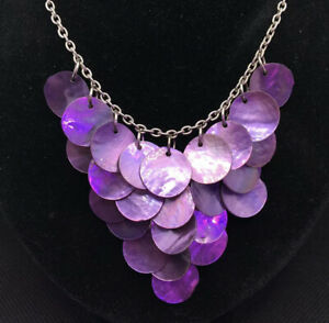 Purple Shell Necklace Mother Of Pearl MOP Silver Tone Statement Bib Waterfall