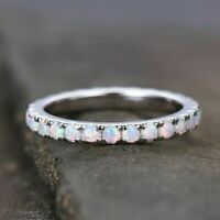 14k White Gold Over 1 CT Round Cut Opal Women's Eternity Wedding Band Ring