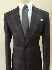 Grey super 150 Cerruti wool suit with wide peak lapel and patch pocket