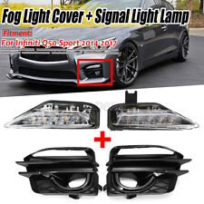 Fog Turn Signal Light Lamp + Fog Light Bezel Cover For Infiniti Q50 Sport 14-17