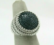 Round Pave' Diamond Ring, Sterling, 1/2 cttw, by Affinity  Sz 5   Blue