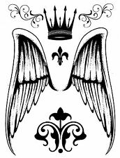 ANGEL WINGS CROWN LARGE SHEET TAT Temporary Tattoo