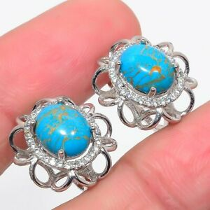 """Blue Copper Turquoise, Cubic Zirconia 925 Sterling Silver Earring 0.7"""" E701-68"""