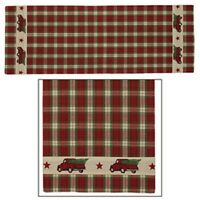"""RED TRUCK TABLE RUNNER Christmas Tree Plaid Check 13"""" x 54"""" Primitive Cotton"""