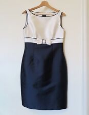 Hobbs Wool/silk Blend Occasion Dress Navy/Ivory UK 10