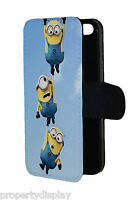 Minions Hanging Funny Flip Wallet Mobile Phone Case Cover printed picture