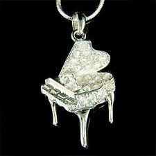 w Swarovski Crystal MUSIC ~Grand Piano~ Musical Instrument Pendant Necklace XMAS