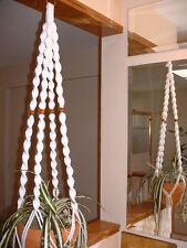 Macrame Plant Hanger WHITE 4 WALNUT BEADS