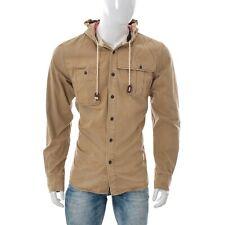 Bershka Mens Button Down Hooded Shirt Jacket Padded Lined Quilt Coat Sz XL BROWN