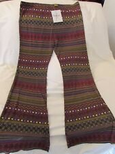 "Ladies ""Wrangler"" Size L, Multi Color, Pull On Hippie Disco Flare Bottom Pants"