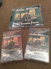 SIGNED Robbie Williams The Christmas Present CD,Green Red Cassettes Bundle Proof