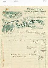 Dépt 37 - Chateaurenault - Superbe Entête Facture Manufacture BAILLOU 1906