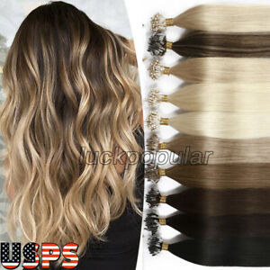 Micro Ring Loop Micro Beads Link Human Hair Extensions Balayage Highlight Blonde