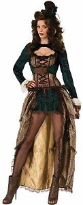 Steampunk Madame 2 Pc Gr & Br Brocade Corseted High Low Dress & Jacket M/L