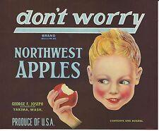 don't worry Northwest Apples Original Yakima Washington Apple Crate Label