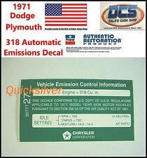 1971 Dodge Plymouth 318 Automatic Transmission Emissions Decal NEW MoPar USA