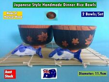 NEW Japanese Style Handmade Wooden Rice Bowls Dinner Set - 2 pcs/set (B158) NEW