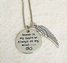 Forever in my heart Always on my mind silver angel wing memorial necklace