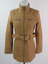 Guess Women's Tan Color Belted Wool Blend Felted Coat Size S TR100