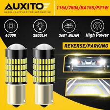 2x Auxito 1156 7506 Led Reverse Backup Light Bulbs White 6000k 98 Canbus Bright