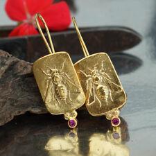 925 Sterling Silver Bee Coin Red Topaz Earrings Handmade Turkish Fine Jewelry