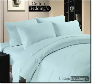 1500 1200 1000 800 600 TC 100% Egyptian Cotton UK Bedding's Hotel Sky Blue Solid